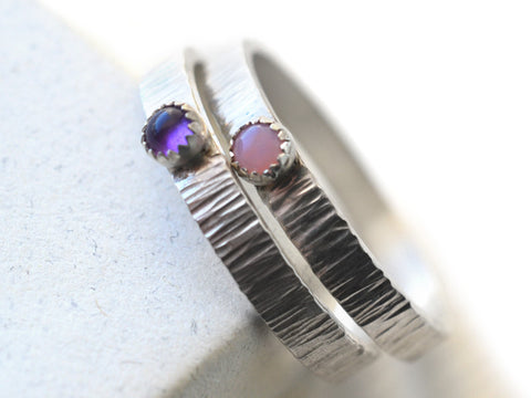 Silver Tree Bark Pink Opal & Amethyst Promise Rings