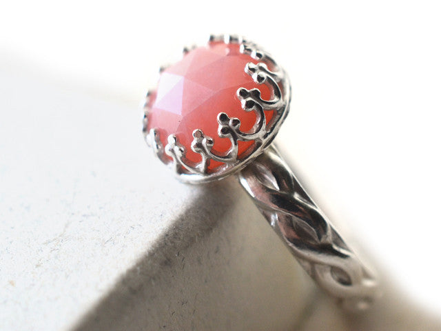 Handmade Silver Celtic Style Pink Opal Engagement Ring