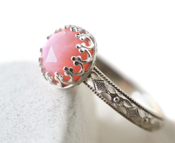 Women's Victorian Floral Poesy Style Pink Opal Ring