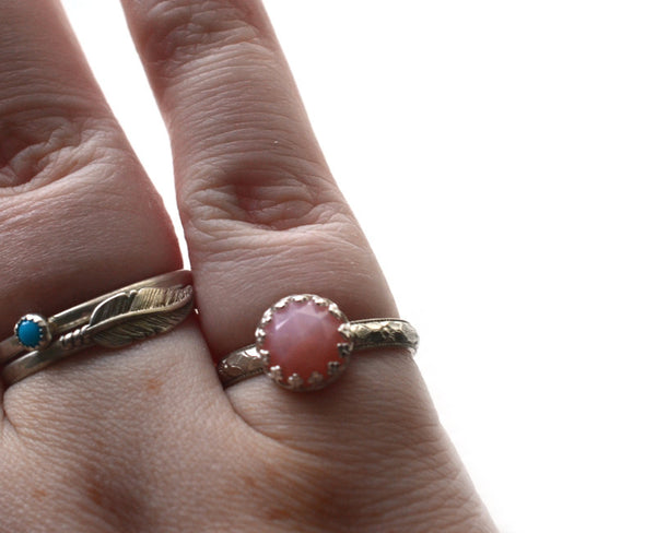 Rose Cut Pink Opal & Sterling Silver Ring