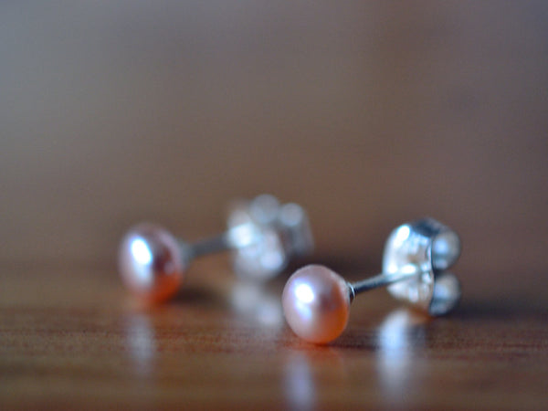 Handmade Sterling Silver & Tiny Pink Pearl Post Earrings