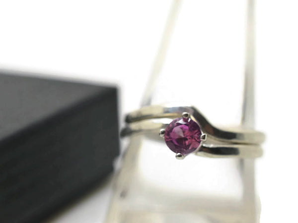 Pink Sapphire Engagement Ring & Wavy Wedding Band