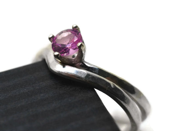 Pink Sapphire Solitaire Ring & Silver Wedding Band
