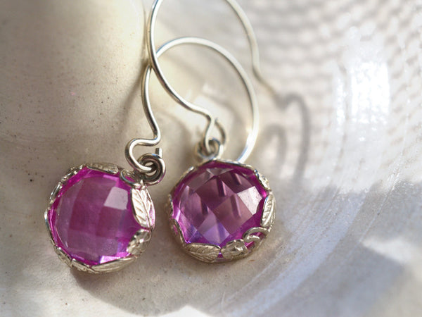 Women's 10mm Pink Sapphire Earrings in Floral Silver
