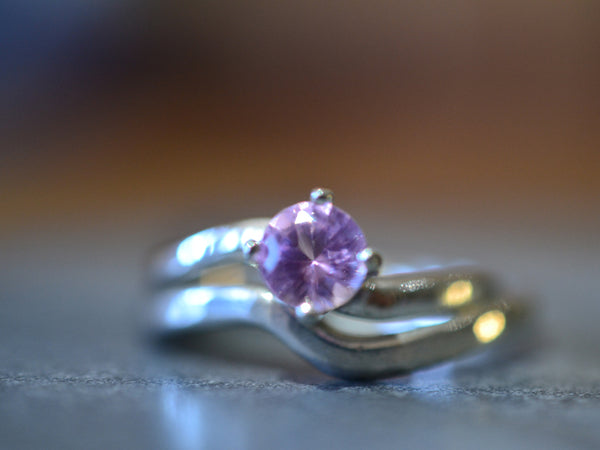 Women's Pink Sapphire Engagement Ring Set in Sterling Silver