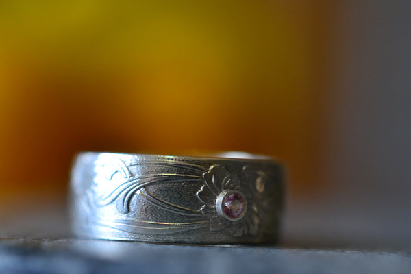 Personalised Art Nouveau Wedding Ring With Pink Topaz Crystal