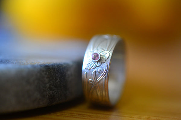 Men's Art Nouveau Wedding Band With Pink Topaz Stone