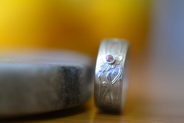 Custom Made Sterling Silver Floral Wedding Ring With Pink Topaz