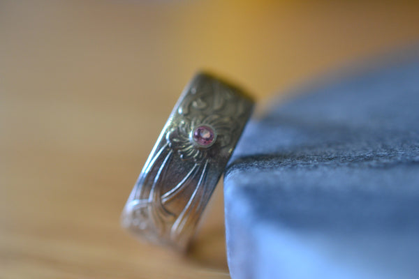 Handforged Sterling Silver Wedding Ring With Tiny Inset Topaz