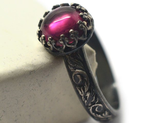 Pink Tourmaline Engagement Ring, Custom Engraved Renaissance Style Oxidized Flowery Silver Band,