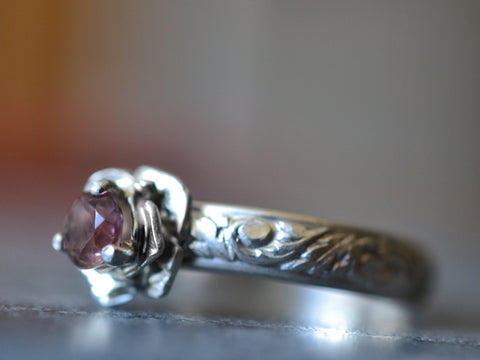 Sterling Silver Rose Set Pink Tourmaline Engagement Ring