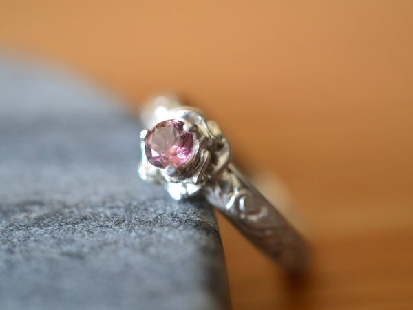 Women's Natural Pink Tourmaline Engagement Ring in Rose Setting