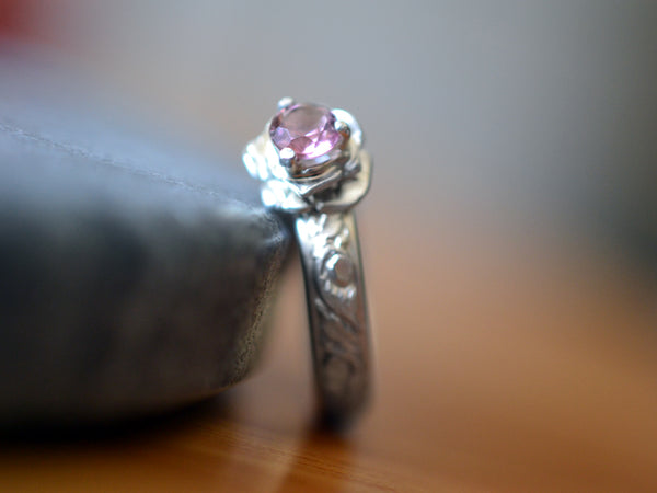 Women's Silver Flower & Pink Tourmaline Engagement Ring
