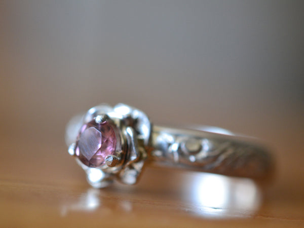 Women's Silver Flower Engagement Ring With Pink Stone