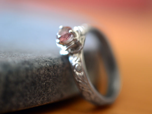 Personalised Pink Tourmaline Solitaire Engagement Ring in Silver