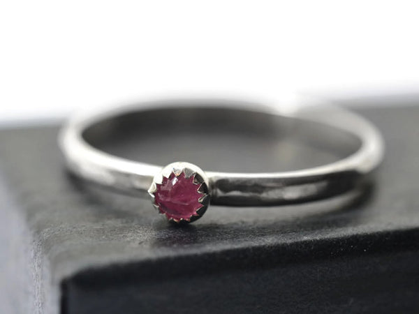 Handforged Sterling Silver Pink Tourmaline Ring
