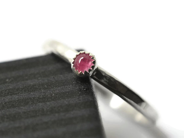Handmade Natural 3mm Pink Tourmaline Stacker Ring