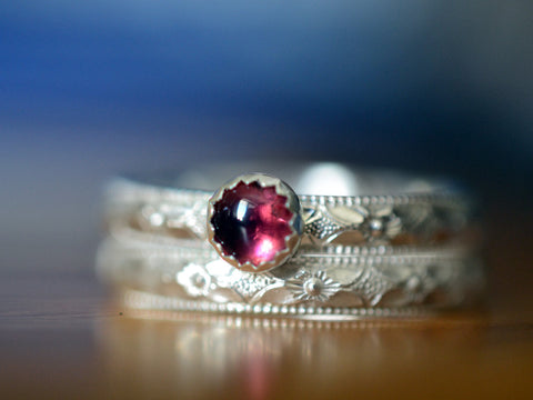 Handmade Floral Sterling Silver Pink Tourmaline Bridal Ring Set