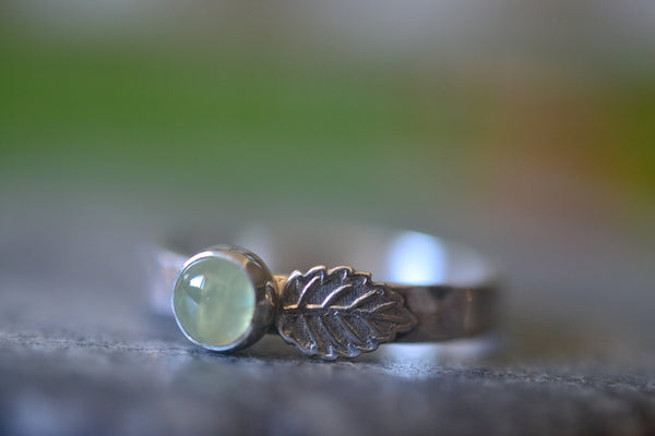 Handmade Sterling Silver Leaf Ring With Natural Prehnite Crystal