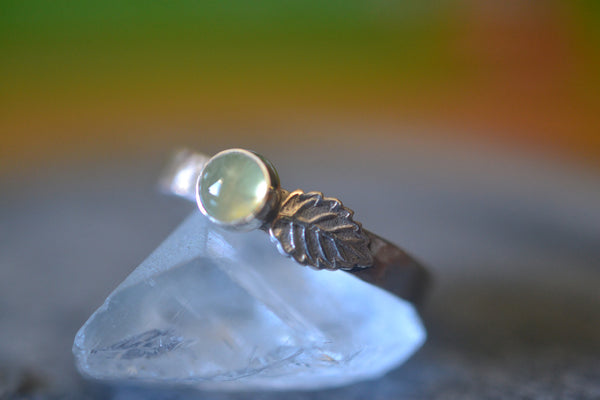Sterling Silver Leaf Ring With Green Prehnite Gemstone