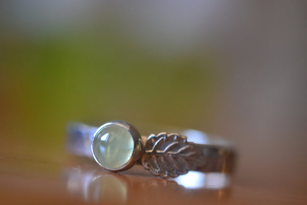 Engravable Sterling Silver Leaf Ring With Natural Crystal Prehnite