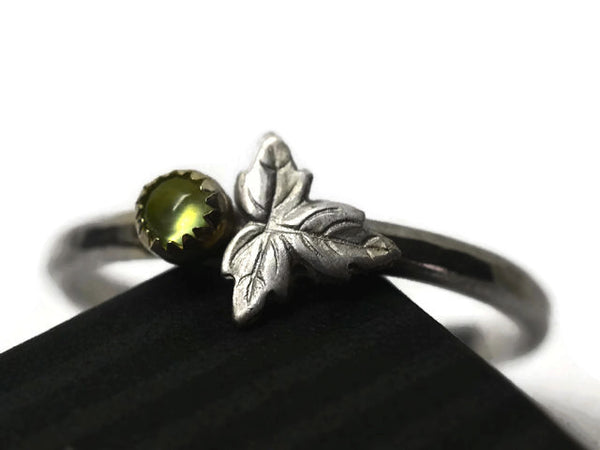 Tiny Prehnite Berry & Silver Leaf Ring