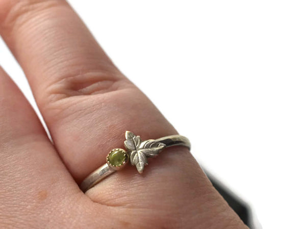 Natural Prehnite Gemstone & Leaf Ring