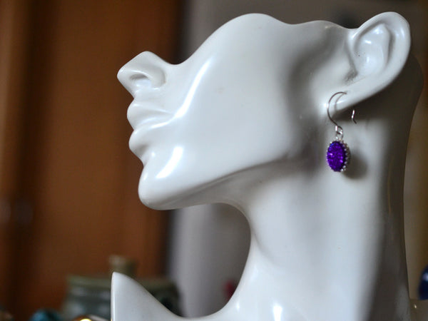 Handmade Purple Druzy Agate Earrings in Sterling Silver
