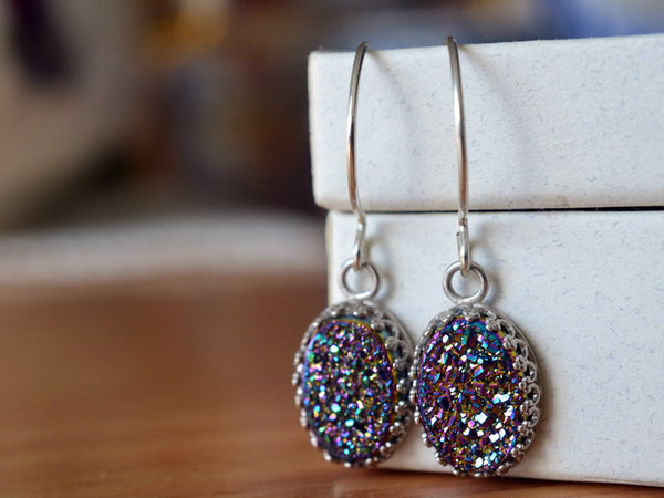 Dangly Sterling Silver Rainbow Druzy Earrings
