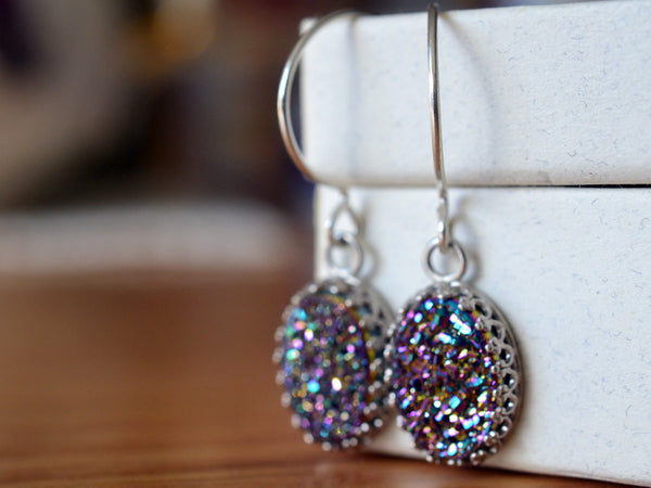 Handmade Dangly Sterling Silver Rainbow Druzy Agate Earrings