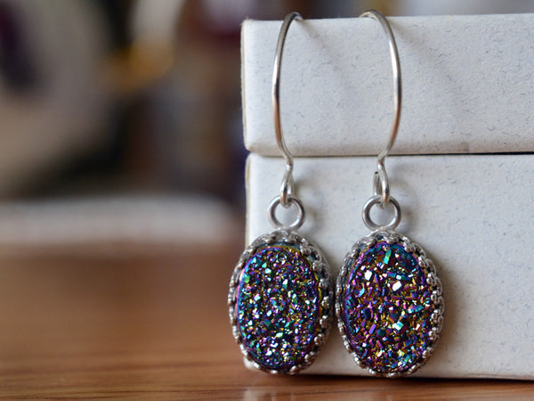 Handmade Oval Rainbow Druzy Earrings in Sterling Silver