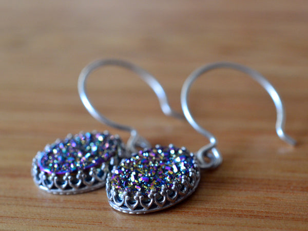 Handmade Rainbow Druzy Agate Drop Earrings in Sterling Silver