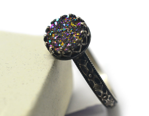 Handmade Oxidized Floral Patterned Silver & 8mm Rainbow Druzy Agate Ring