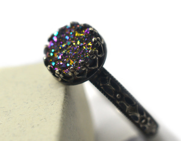 Handmade Women's Rainbow Druzy Ring in Oxidized Silver