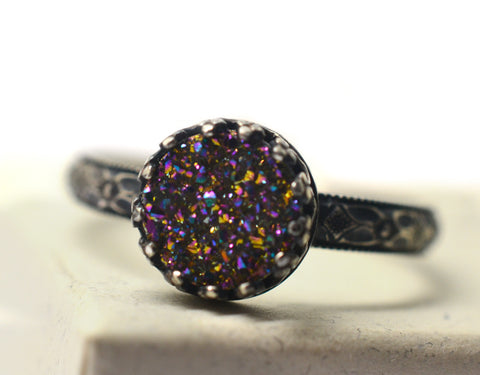 Women's Handmade Oxidized Silver Victorian Style Rainbow Druzy Agate Ring