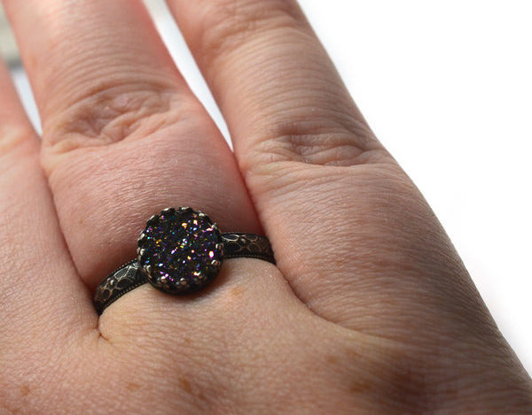 Rainbow Druzy Agate Statement Ring in Oxidized Floral Silver
