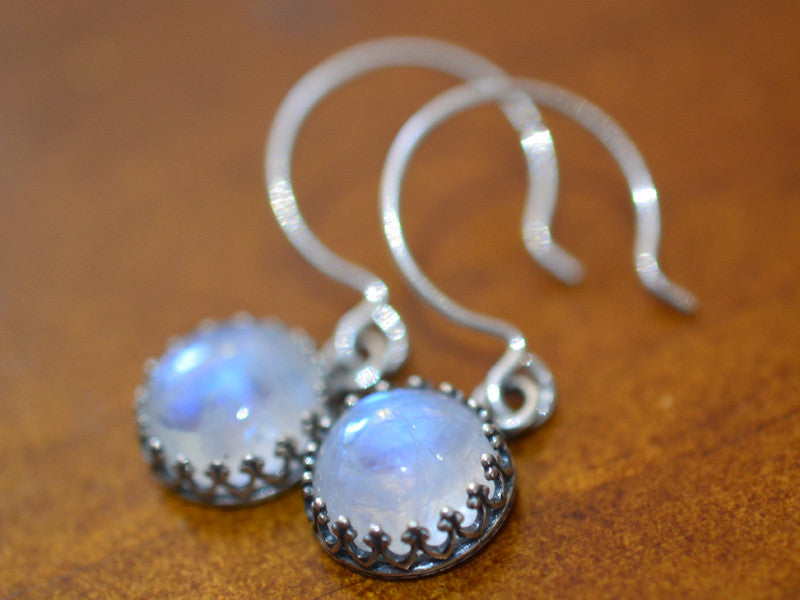 Handmade Dangly Rainbow Moonstone Earrings in Silver
