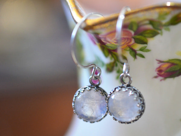 Handmade Rainbow Moonstone Earrings in Silver