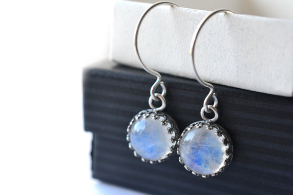 10mm Rainbow Moonstone Dangle Earrings in Silver