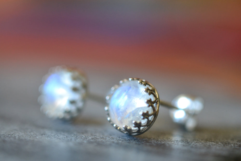 Simple Rainbow Moonstone Cabochon Post Earrings