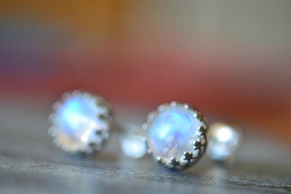 Silver Crown Bezel Set Rainbow Moonstone Cabochon Earrings