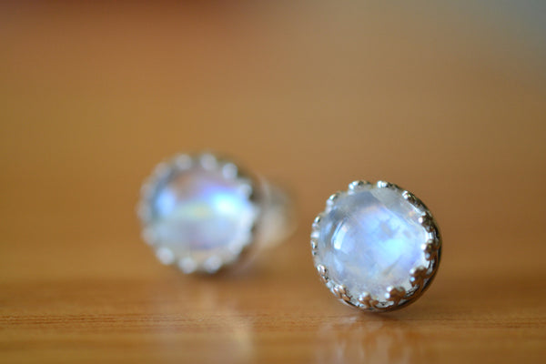 Simple 8mm Round Rainbow Moonstone Cabochon Studs in Silver