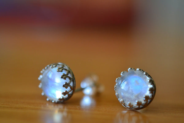 Women's Silver Bezel Set Rainbow Moonstone Post Earrings