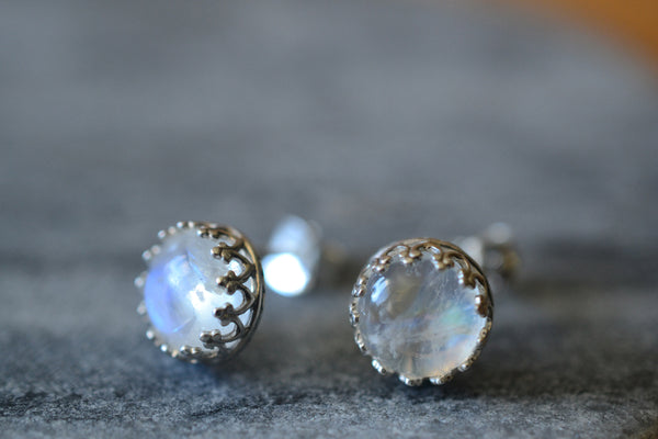 Natural 8mm Round Rainbow Moonstone Post Earrings in Silver