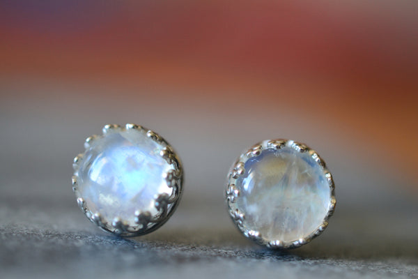 Natural 8mm Round Rainbow Moonstone Gemstone Studs
