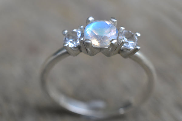 Rainbow Moonstone Engagement Ring in Sterling Silver