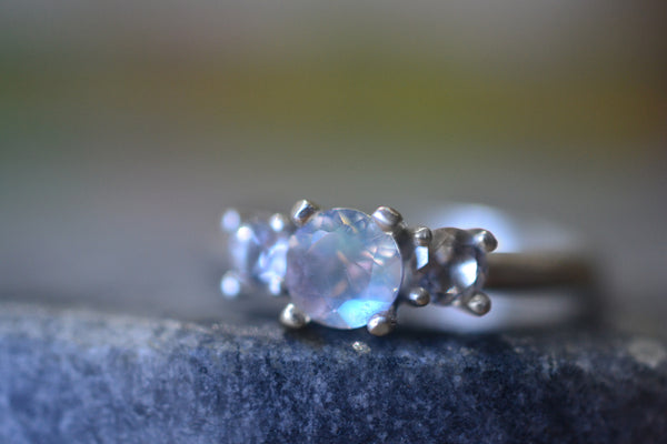 Natural Rainbow Moonstone Crystal Engagement Ring in Sterling