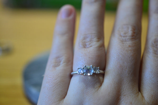 Three Stone Engagement Ring in Sterling Silver