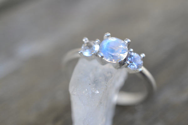 Rainbow Moonstone & White Topaz Cluster Engagement Ring