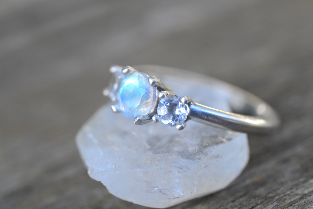 Rainbow Moonstone & Topaz Engagement Ring in Silver